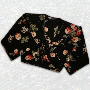 Tie-Front Cropped Black and Floral Kimono